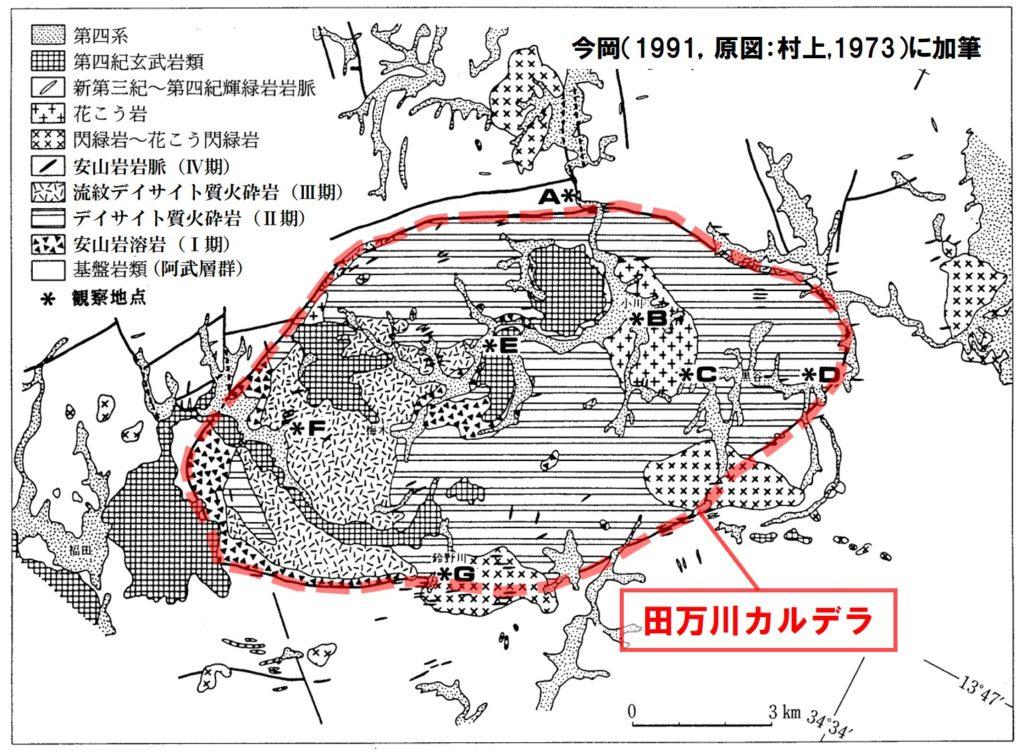田万川カルデラの地質図